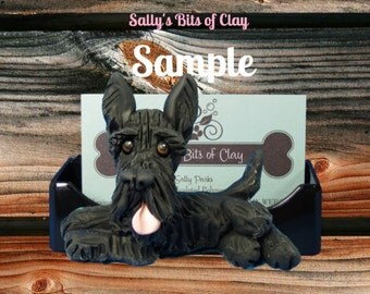 Black Scottish Scottie Scotty Terrier Business Card Holder / Iphone / Cell phone / Post it Notes OOAK sculpture by Sally's Bits of Clay