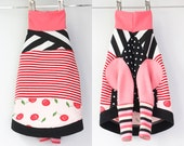 iggy luxury COURTNEYCOURTNEY fancy polka dots upcycled jersey tshirt outfit top clothing italian greyhound cherry red pink stripes