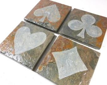 Slate Coasters: CARD SUIT Coasters - 4 Carved Stone Coasters, Handmade Coasters, Game Room Decor, Poker Decor, Gambling Decor, Casino Decor