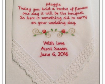 PERSONALIZED Embroidered FLOWER GIRL Handkerchief with Flower Scroll design