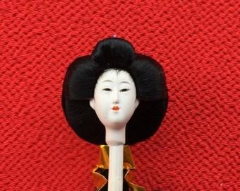 Japanese Doll Head Woman D10-43  Hina Matsuri Hina Ningyo Small Size