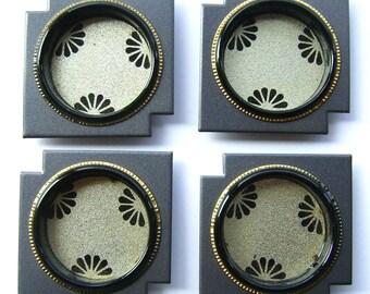 Vintage Japanese Door Pulls - Sliding Door Pulls - Pocket Door Pulls - Vintage Door Pulls - Gray Gold Flowers (A44) Set of 4 Small