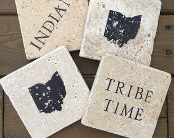 Cleveland Indians Natural Stone Coasters. Set of 4. Indians, Tribe Time, Ohio