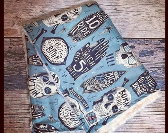 SUPER SALE CUSTOM Punk Rock skull or Guitar baby or toddler blanket with your choice of Minky girl boy unisex