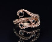 VDay SALE SALE! Tentacle Ring, Wedding Band, Octopus Ring - Seductive 14K Tentacle Ring in Rose Gold and Black Diamonds by OctopusMe