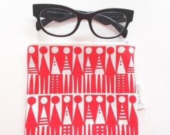 Screen Printed  Retro Original Jane Foster Purse / Glasses case bag  - vintage formica design monochrome