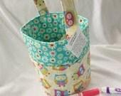 Creative Kids Art Bucket - Sweet Owls with Flowers - Fabric Basket Organizer Easter Basket