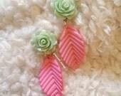 Pastel Mint Rose Pink Leaf Lolita Earrings