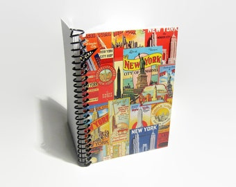 New York City Blank Sketchbook, A6 Cute Pocket Travel Notebook, Spiral Bound Writing Journal Diary, New York Gifts, Gifts Under 15