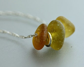 Autumn colors - Sea Glass Sterling Silver necklace - Gift for her - Real sea glass jewelry - Beach glass - 18 inches - Unique gift for her