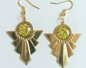 Art Deco Geometric Yellow and Black Brass Earrings
