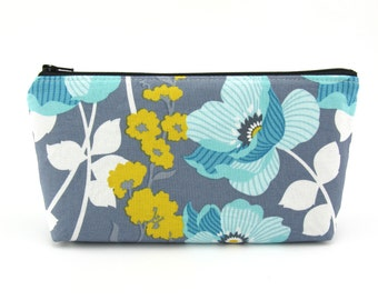 Cosmetic Bag - Zip Pouch - Travel Wallet - Makeup Bag - Pencil Case - Zipper Bag - Blue and Yellow Flower