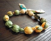 Silk Necklace - Handpainted silk - gift for her - Green-Yellow-Tan necklace - wedding necklace - giveaways