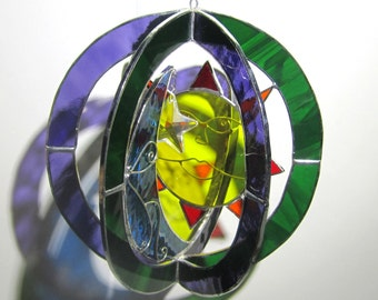Cosmic Rays - Stained Glass 3D Sphere - Sun Moon Star Suncatcher Home Decor Round Hanging Art Sculpture Orb (READY TO SHIP)