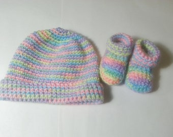 Multi Color Baby Booties & Hat - Newborn - 6 Months old