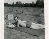 vintage photo 1950 Mid Century Tan Handsome Beer Young Guy Shirtless Sunbathing Snapshot photo
