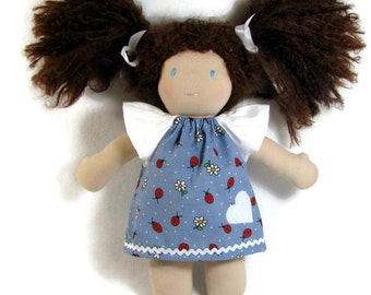 Waldorf Doll Dress, Ladybugs and Daises Doll Dress, Handmade Doll Dress, cotton doll dress, optional white bloomers for 10 to 12 inch doll