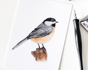 The Coal Tit postcard, watercolor illustration