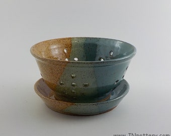 Stoneware Berry Bowl and Saucer - Handmade Fruit Strainer - Wheel Thrown Kitchen Colander - Straw and Robin's Egg Blue - Ready to Ship  s475