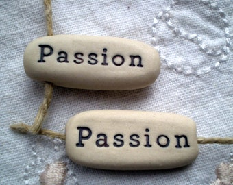 Passion, Loose Beads, Pottery Beads, Word Beads, Clay Beads, Ceramic Word Beads, Jewelry Supplies