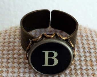 Initial ring / typewriter key ring / your initial in a bronze tone ring / monogram ring