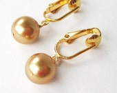 Gold Pearl Clip-on Earrings, Golden Round Bead Clip Earrings, Small Classic Clipons, Gold Plated Ear Clips, Lightweight Small Dangle