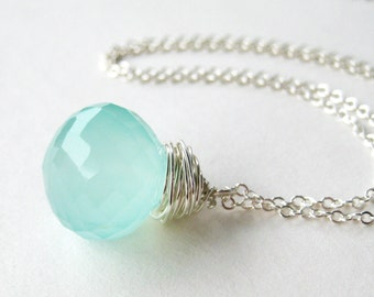 Aqua Chalcedony Necklace, Sterling Silver Wire Wrapped Pendant Necklace, Pale Blue Onion Briolette, Faceted Teardrop, Handmade, Daystar
