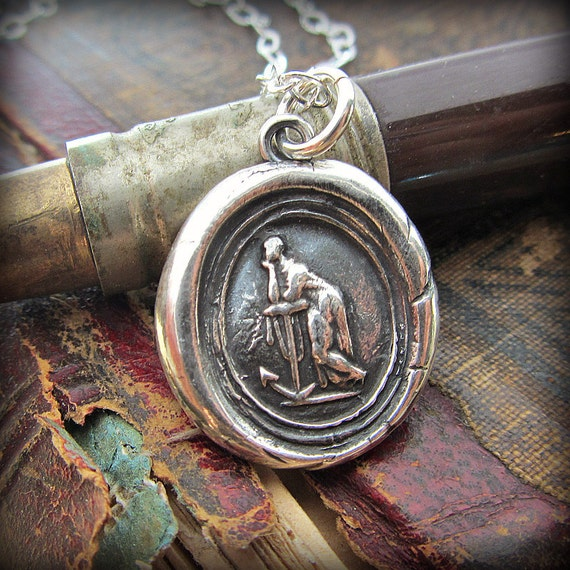 Faith Leaning on Hope Wax Seal Necklace - Hope and Faith Wax Seal Necklace - have hope and faith - E2255