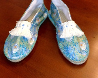Liberty of London espadrilles in peacock feather teal made to order
