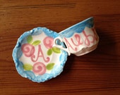 Personalized Tea party favors // Handpainted Child's Sized Tea Cup and Saucer Set