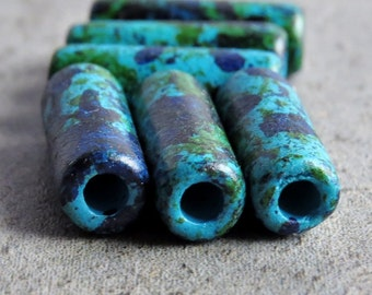 Aegean Mykonos Greek Ceramic Bead 17mm Tube : 6 pc Blue Green Ceramic Tube