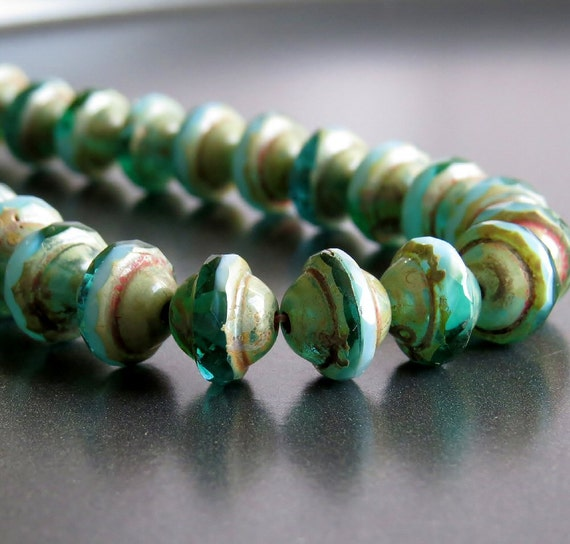 Shani Emerald: Picasso Blue Turquoise Emerald Czech Glass Saturn Bead