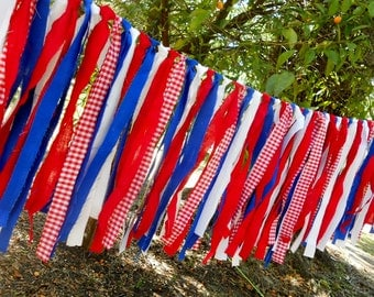 4th of July, Patriotic, Red White Blue Americana Flag Picnic Chair Rag Tie Garland, Rag Fringe Banner, Photo Prop