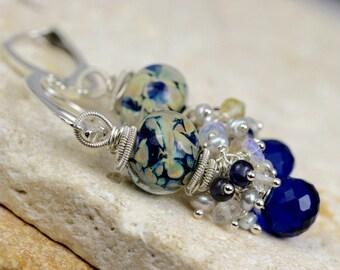 Lampwork Earrings - Earrings - Gemstone Earrings - Wire Wrapped Earrings - Dangle Earrings - Post Earrings - Cluster Earrings