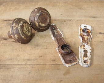 free Shipping vintage Knob and  Escutcheon Door Key Plate s Nice and rusty and shabby assemblage projects birdhouse