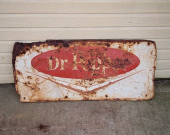 Free Shipping Great old Dr Pepper Embossed metal sign Red and White  37x18 inches