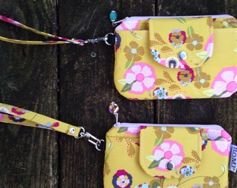 SOMP Wristlet in yellow-green and pink, with flowers