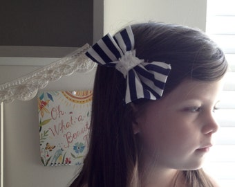 Summer Stripes Bowtie Girls Hair clip. In stock, ready to ship!