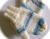 Mittens, Baby, Hand Knit, Soft White with Stripes, 6 to 12 months