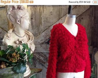 1980s red fuzzy sweater 80s fringe cardigan size medium Vintage fluffy tassel sweater