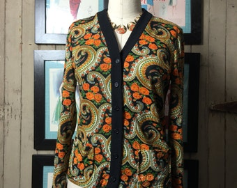 1970s cardigan 70s floral cardigan size small Vintage 70s blouse button up top