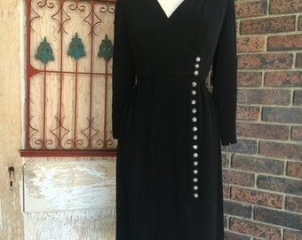 Sale 1960s dress Fred Perlberg dress 60s dress black dress size medium Vintage dress designer dress mod dress