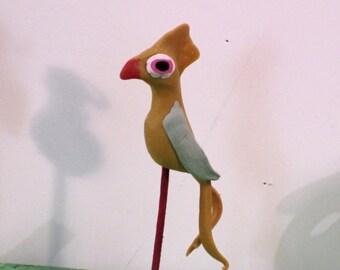 Yellow WACKY bird, a miniature OOAK