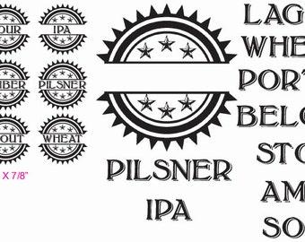 Beer Cap Rubber Stamp Set