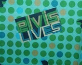 ELVIS LIVES green and black elvis silhouette polka dots VIP Cranston