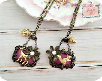 Deer or Squirrel  Insanely Sweet Necklace- brass purple woodland animals acorn pinecone