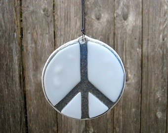 White and Gray Peace Sign, Gray Glass Peace Sign, Gray Peace Symbol