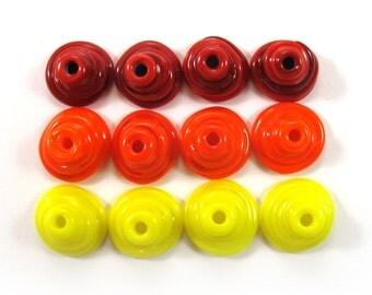 Handmade Lampwork Beads Glass, Lampwork beads set, Cone Shape Bead Caps, red, yellow and orange(12) SRA