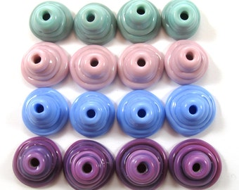 Handmade Lampwork Beads Glass, Lampwork beads set, Cone Shape Bead Caps, purple, pink, turquoise (16) SRA