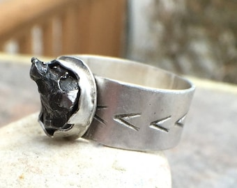 Mothers Day Sale - Meteorite Sterling Silver Wide Band Statement Ring - US Size 6.5